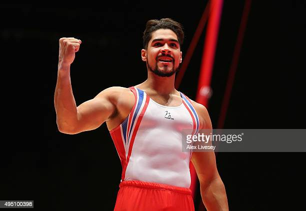 Louis Smith of Great Britain wins Silver in the Pommel Horse Final during dy nine of the 2015 World Artistic Gymnastics Championships at The SSE...