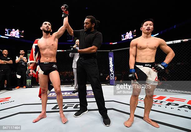 Louis Smolka celebrates his victory over Ben Nguyen in their flyweight bout during the UFC Fight Night event on July 13, 2016 at Denny Sanford...