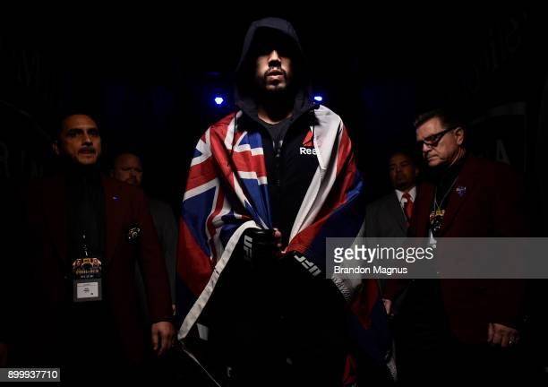 Louis Smolka prepares to enter the Octagon prior to his flyweight bout against Matheus Nicolau of Brazil during the UFC 219 event inside TMobile...