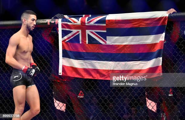 Louis Smolka prepares to face Matheus Nicolau of Brazil in their flyweight bout during the UFC 219 event inside TMobile Arena on December 30 2017 in...