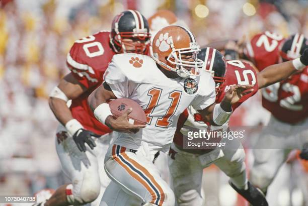 Louis Solomon Quarterback for the Clemson University Tigers runs the ball during the NCAA Atlantic Coast Conference college football game against the...