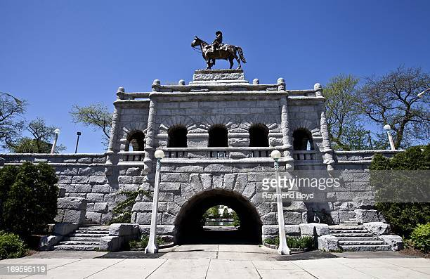 Louis T Rebisso's Ulysses S Grant Memorial and underpass sits outside the southern entrance to Lincoln Park Zoo in Chicago Illinois on MAY 24 2013