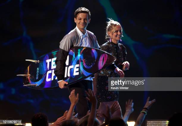 Louis Tomlinson accepts the Choice Male Artist award onstage during FOX's Teen Choice Awards at The Forum on August 12 2018 in Inglewood California