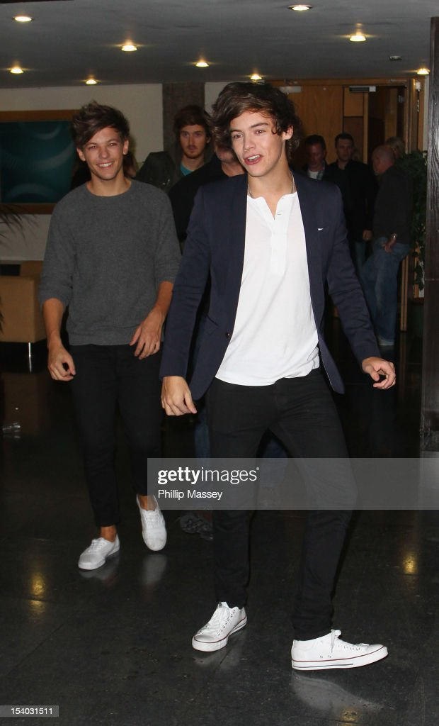 Louis Tomlinson and Harry Styles from One Direction appears on the Late Late Show on October 12, 2012 in Dublin, Ireland.