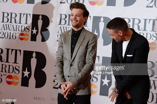 Louis Tomlinson and Liam Payne attend the BRIT Awards 2016 at The O2 Arena on February 24 2016 in London England