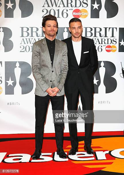 Louis Tomlinson and Liam Payne from One Direction attend the BRIT Awards 2016 at The O2 Arena on February 24 2016 in London England