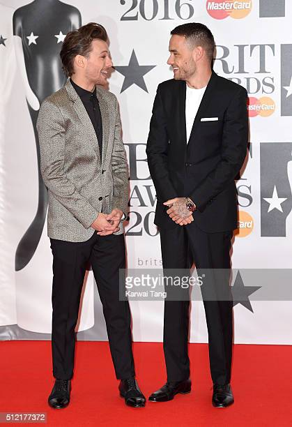 Louis Tomlinson and Liam Payne of One Direction attend the BRIT Awards 2016 at The O2 Arena on February 24 2016 in London England