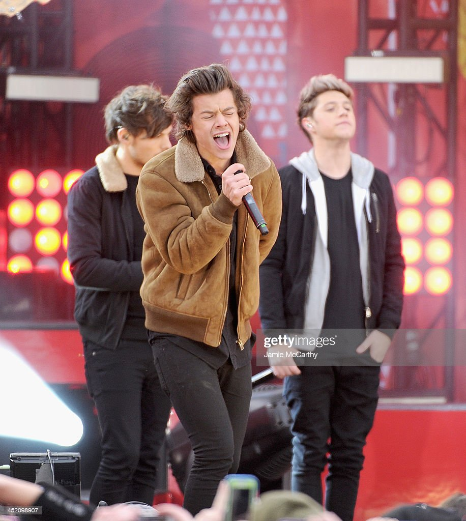 Louis Tomlinson, Harry Styles and Niall Horan of One Direction perform at Rumsey Playfield on November 26, 2013 in New York City.