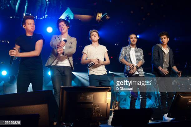 Louis Tomlinson Harry Styles Niall Horan Liam Payne and Zayn Malik of One Direction perform during Z100's Jingle Ball 2012 presented by Aeropostale...