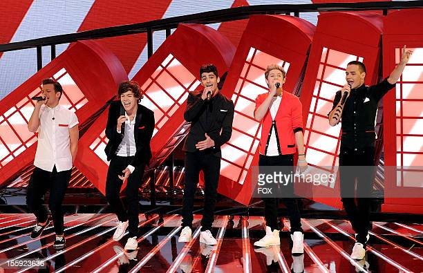 Louis Tomlinson Harry Styles Zayn Malik Niall Horan and Liam Payne of British singing group One Direction performs on FOX's 'The X Factor' Season 2...