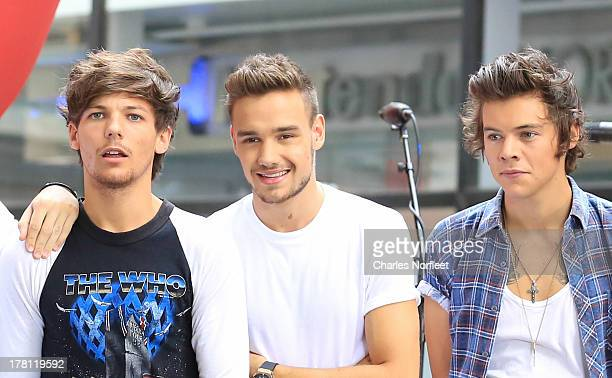 Louis Tomlinson Liam Payne and Harry Styles of One Direction performs on NBC's Today at Rockefeller Center on August 23 2013 in New York City