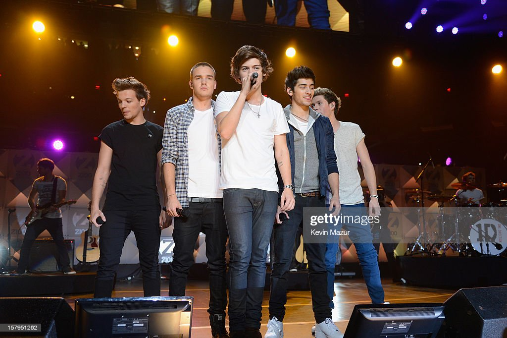 Louis Tomlinson, Liam Payne, Harry Styles, Zayn Malik and Niall Horan of One Direction perform onstage during Z100's Jingle Ball 2012, presented by Aeropostale, at Madison Square Garden on December 7, 2012 in New York City.