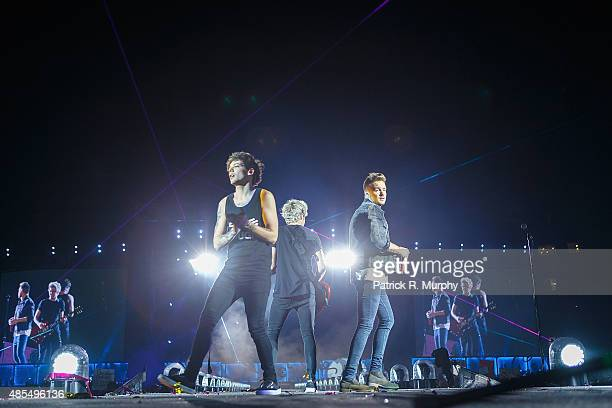 Louis Tomlinson Niall Horan and Liam Payne of One Direction perform at FirstEnergy Stadium on August 27 2015 in Cleveland Ohio