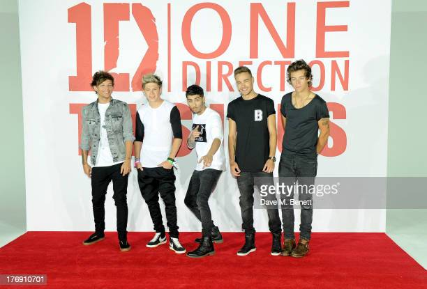 Louis Tomlinson, Niall Horan, Zayn Malik, Liam Payne and Harry Styles of One Direction attends a photocall to launch their new film 'One Direction:...