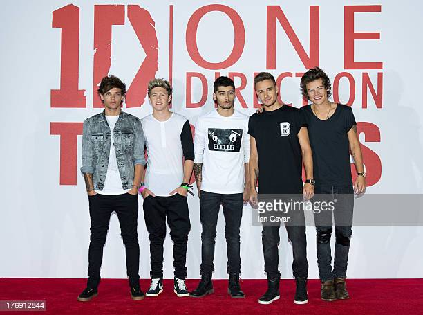 """Louis Tomlinson, Niall Horan, Zayn Malik, Liam Payne and Harry Styles of """"One Direction"""" attend a photo call and press conference for """"One Direction..."""