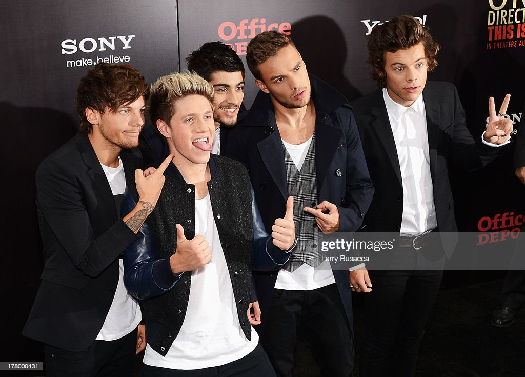 Louis Tomlinson, Niall Horan, Zayn Malik, Liam Payne and Harry Styles attend the New York premiere of 'One Direction: This Is Us' at the Ziegfeld Theater on August 26, 2013 in New York City.