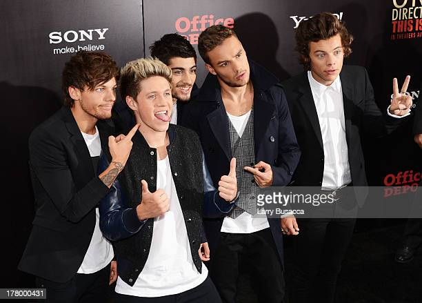 """Louis Tomlinson, Niall Horan, Zayn Malik, Liam Payne and Harry Styles attend the New York premiere of """"One Direction: This Is Us"""" at the Ziegfeld..."""