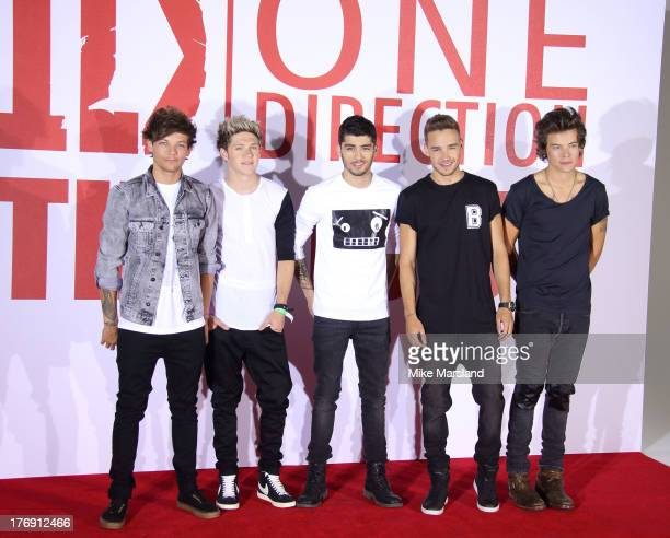 Louis Tomlinson, Niall Horan,Zayn Malik, Liam Payne and Harry Styles of One Direction attends a photocall to launch their new film 'one Direction:...