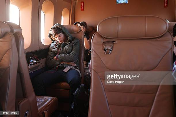 Louis Tomlinson of One Direction travels in a luxury helicopter to Glasgow Manchester and London on September 11 2011 The tour was taken in a luxury...