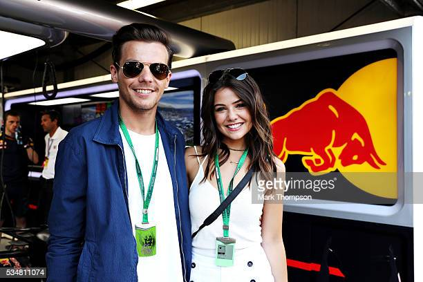 Louis Tomlinson singer with girlfriend Danielle Campbell at the Red Bull Racing garage during qualifying for the Monaco Formula One Grand Prix at...