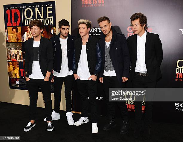 """Louis Tomlinson, Zayn Malik, Niall Horan, Liam Payne, and Harry Styles attend the New York premiere of """"One Direction: This Is Us"""" at the Ziegfeld..."""