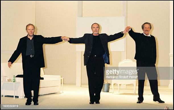 Louis Trintignant Pierre Vaneck and Jean Rochefort at theTheatre Production Of Art At TheTheatre Hebertot In Paris 1997