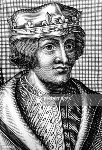 Louis V the Lazy last carolingian king of France in 986987 engraving