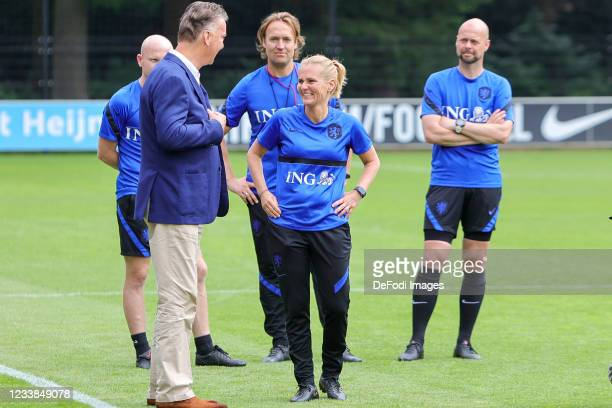 Louis van Gaal, and Sarina Wiegman smiles during the training session of Netherlands Women at Mac3Park Stadium on July 03, 2021 in Zwolle,...