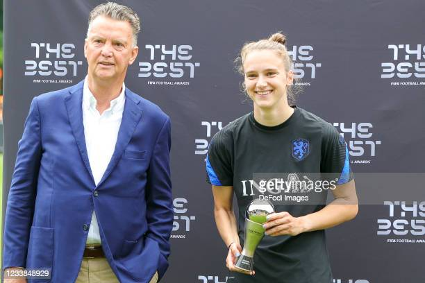 Louis van Gaal and Vivianne Miedema of Netherlands looks on during the training session of Netherlands Women at Mac3Park Stadium on July 03, 2021 in...