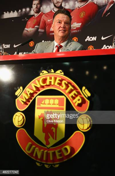 Louis van Gaal appears at a press conference as he is unveiled as the new Manchester United manager at Old Trafford on July 17 2014 in Manchester...