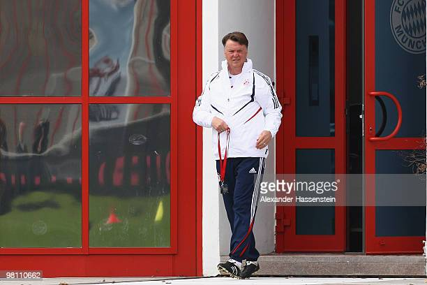 Louis van Gaal, head coach of Bayern Muenchen arrives for the Bayern Muenchen training session at Bayern's training ground 'Saebener Strasse' on...