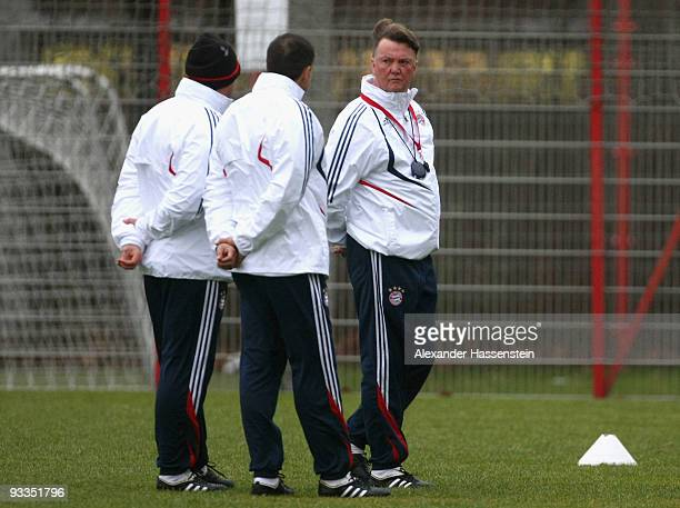 Louis van Gaal , head coach of Bayern Muenchen talks to his assistent coaches during the Bayern Muenchen training session at Bayern's training ground...