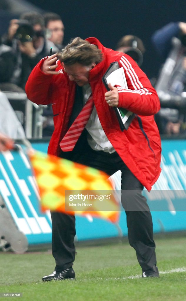 Louis van Gaal, head coach of Muenchen reacts during the Bundesliga match between FC Schalke 04 and FC Bayern Muenchen at the Veltins Arena April 3, 2010 in Gelsenkirchen, Germany.