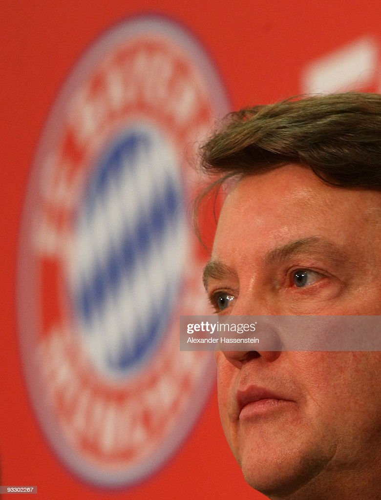 Louis van Gaal, head coach of Munich looks on during a press conference after the Bundesliga match between Bayern Muenchen and Bayer Leverkusen at the Allianz Arena on November 22, 2009 in Munich, Germany. at Allianz Arena on November 22, 2009 in Munich, Germany.