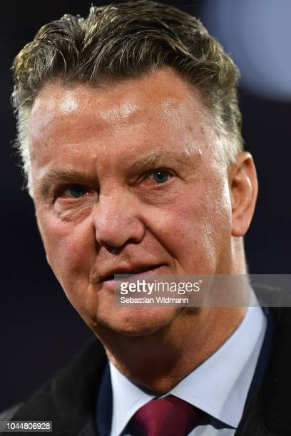 Louis van Gaal looks on prior to the Group E match of the UEFA Champions League between FC Bayern Muenchen and Ajax at Allianz Arena on October 2,...