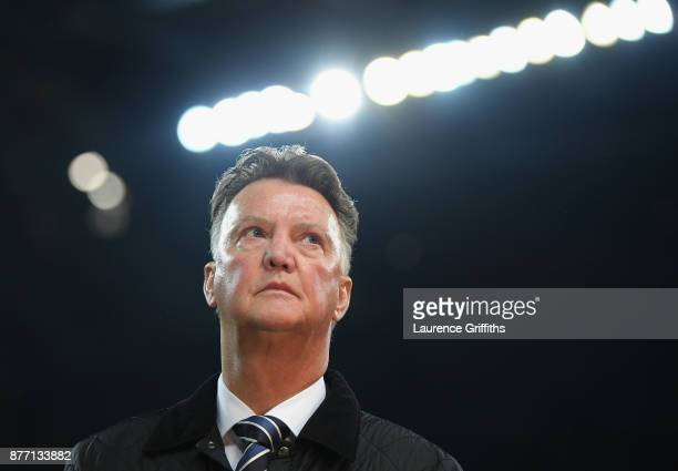 Louis van Gaal looks on prior to the UEFA Champions League group F match between Manchester City and Feyenoord at Etihad Stadium on November 21, 2017...