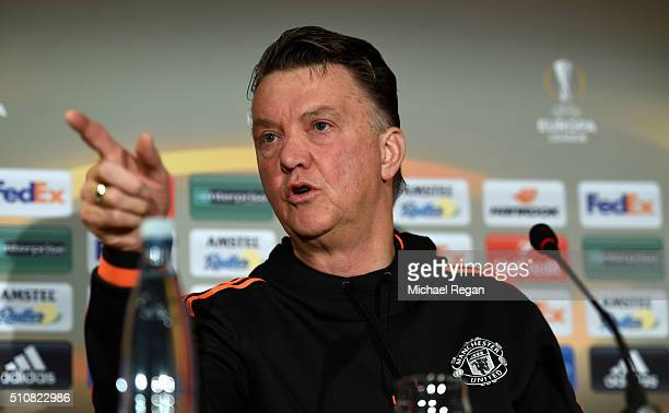 Louis van Gaal Manager of Manchester United addresses the media during a press conference ahead of the UEFA Europa League Round of 32 match between...