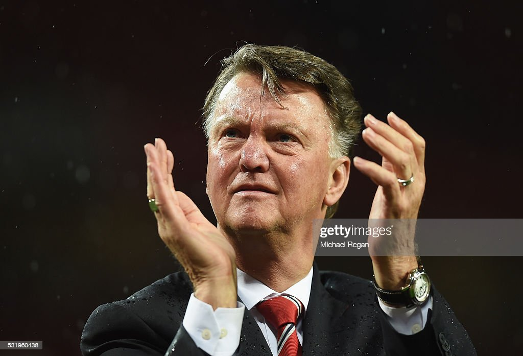 Louis van Gaal manager of Manchester United applauds the crowd after the Barclays Premier League match between Manchester United and AFC Bournemouth at Old Trafford on May 17, 2016 in Manchester, England.