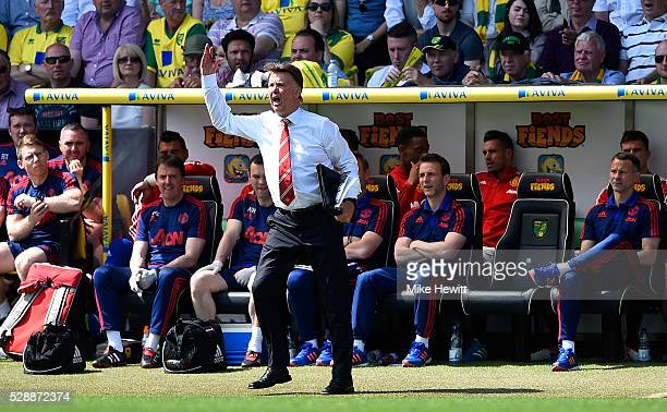 Louis van Gaal Manager of Manchester United gestures during the Barclays Premier League match between Norwich City and Manchester United at Carrow...
