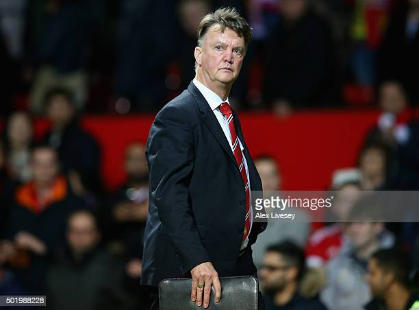 Louis van Gaal Manager of Manchester United leaves the pitch after 12 defeat in the Barclays Premier League match between Manchester United and...