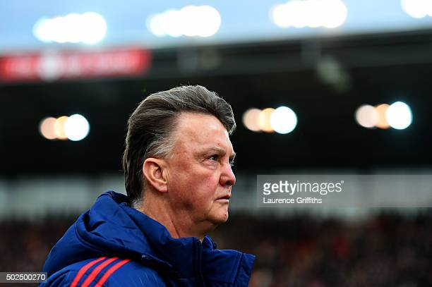 Louis van Gaal manager of Manchester United leaves the pitch after the Barclays Premier League match between Stoke City and Manchester United at...