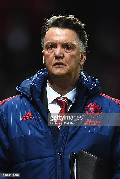 Louis van Gaal Manager of Manchester United looks on during the Barclays Premier League match between Manchester United and Watford at Old Trafford...
