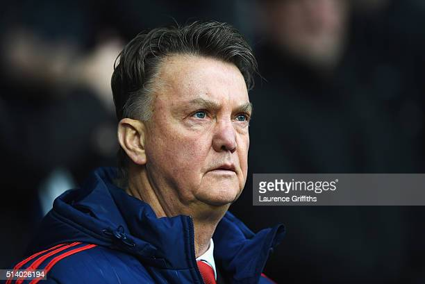 Louis van Gaal manager of Manchester United looks on during the Barclays Premier League match between West Bromwich Albion and Manchester United at...