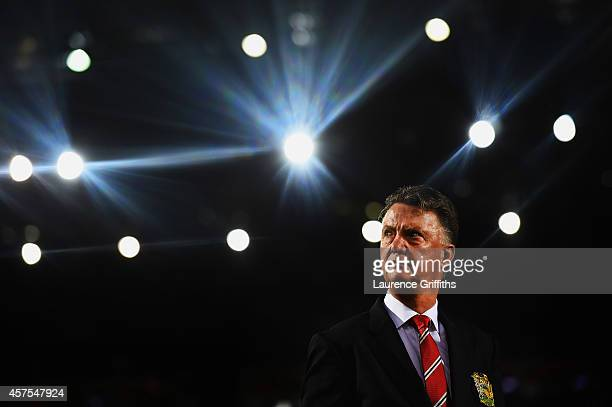 Louis van Gaal manager of Manchester United looks on prior to the Barclays Premier League match between West Bromwich Albion and Manchester United at...