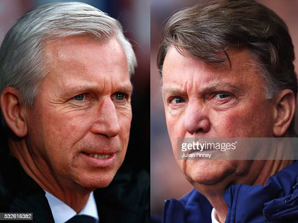PHOTO Image Numbers 509962936 and 520239628 In this composite image a comparison has been made between Alan Pardew Manager of Crystal Palace and...