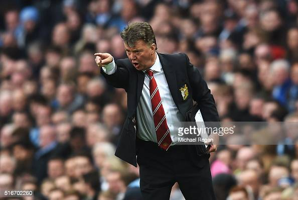 Louis Van Gaal Manager Of Manchester United Reacts During