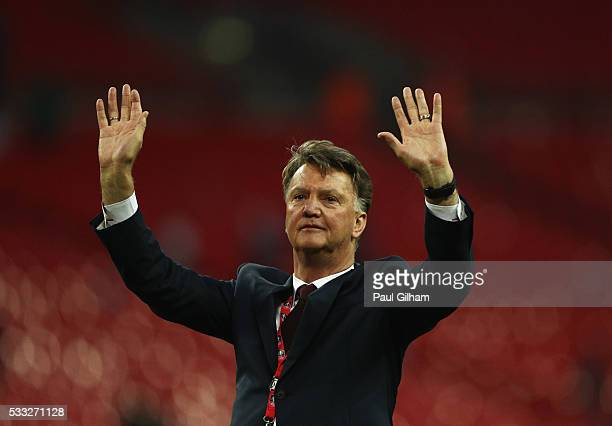 Louis van Gaal Manager of Manchester United salutes the fans after winning The Emirates FA Cup Final match between Manchester United and Crystal...