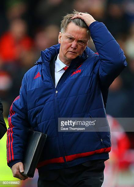 Louis van Gaal manager of Manchester United walks out for the second half of the Barclays Premier League match between Stoke City and Manchester...