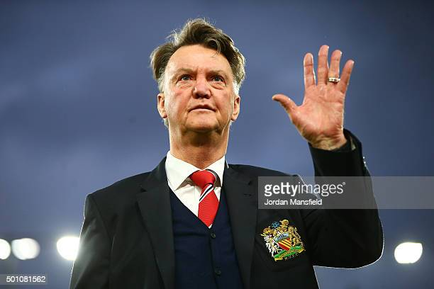 Louis van Gaal Manager of Manchester United waves to supporters prior to the Barclays Premier League match between AFC Bournemouth and Manchester...