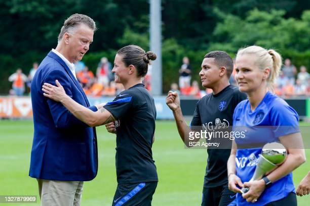 Louis van Gaal, Sherida Spitse of the Netherlands, Shanice Van de Sanden of the Netherlands, Coach Sarina Wiegman of the Netherlands during the...